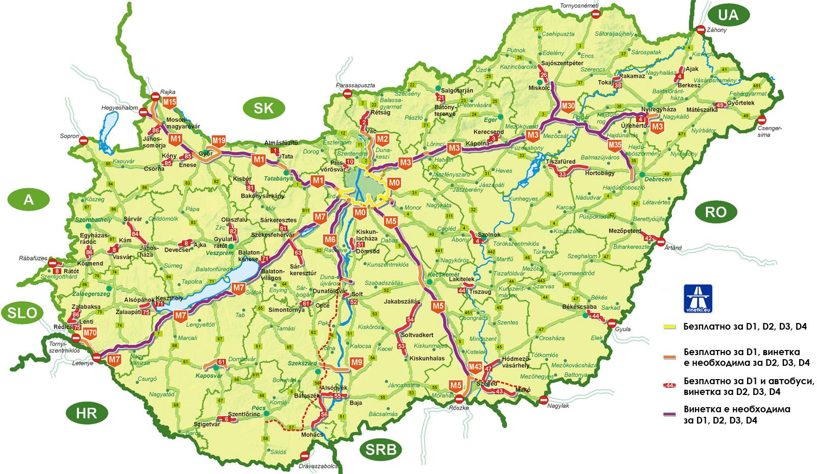 Участъци от пътната мрежа в унгария